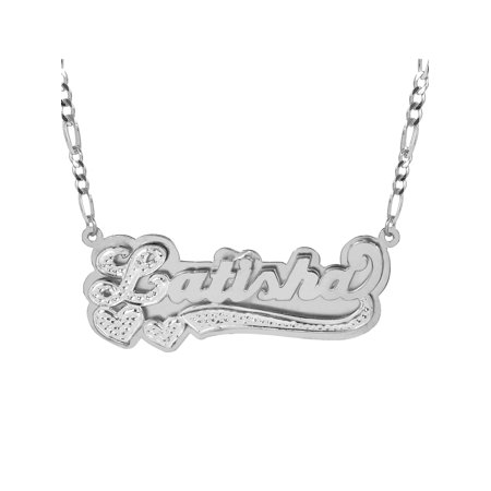 Gold Nameplate (Personalized Sterling Silver or Gold Plated Nameplate Necklace with an 18 inch Silver Plated Figaro Chain )