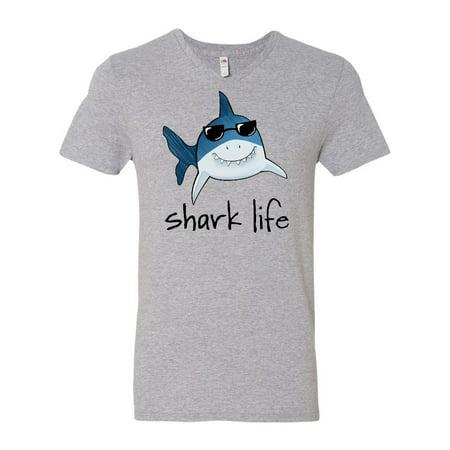Cheap Fun Sunglasses (Shark Life Fun Shark With Sunglasses Men's V-Neck)