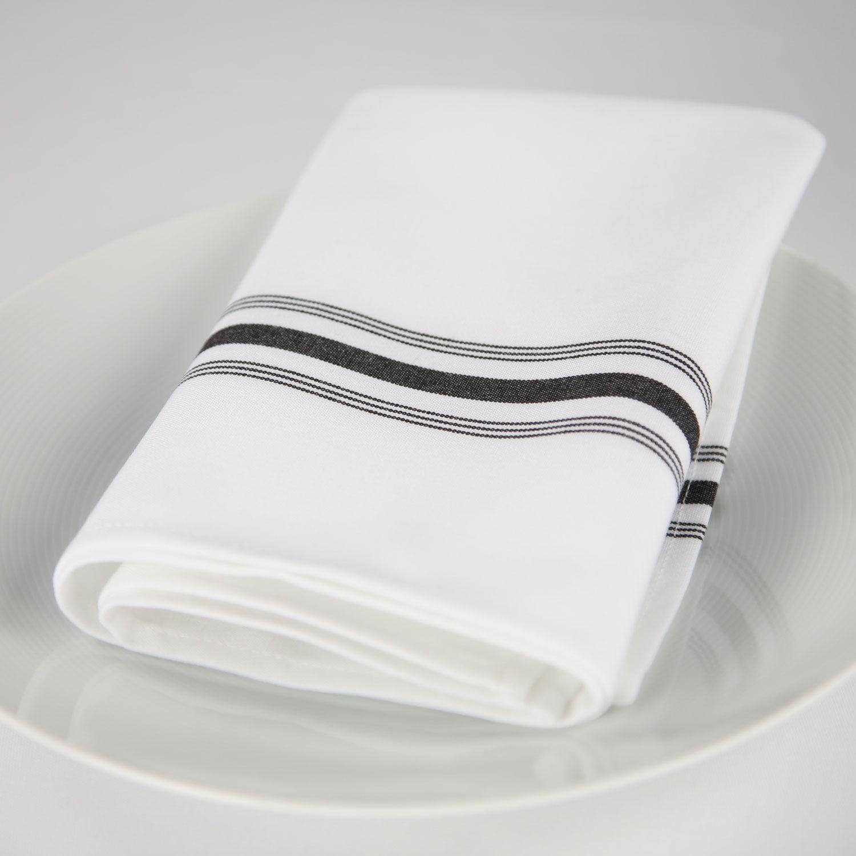 "GHP 12-Pcs Black Stripe 18""x22"" Premium Poly Cotton Blend Bistro Dinner Napkins"