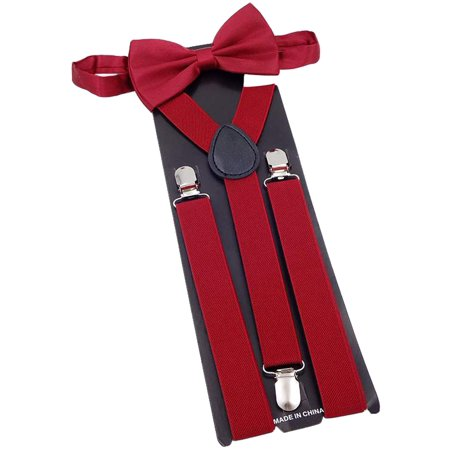 Suspender, Coxeer Fashionable Y Back Clip Adjustable Elastic Suspenders Bow Tie Set for Men Boys