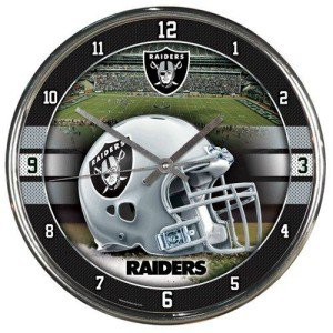 - Oakland Raiders Round Chrome Wall Clock by Wincraft, Inc.
