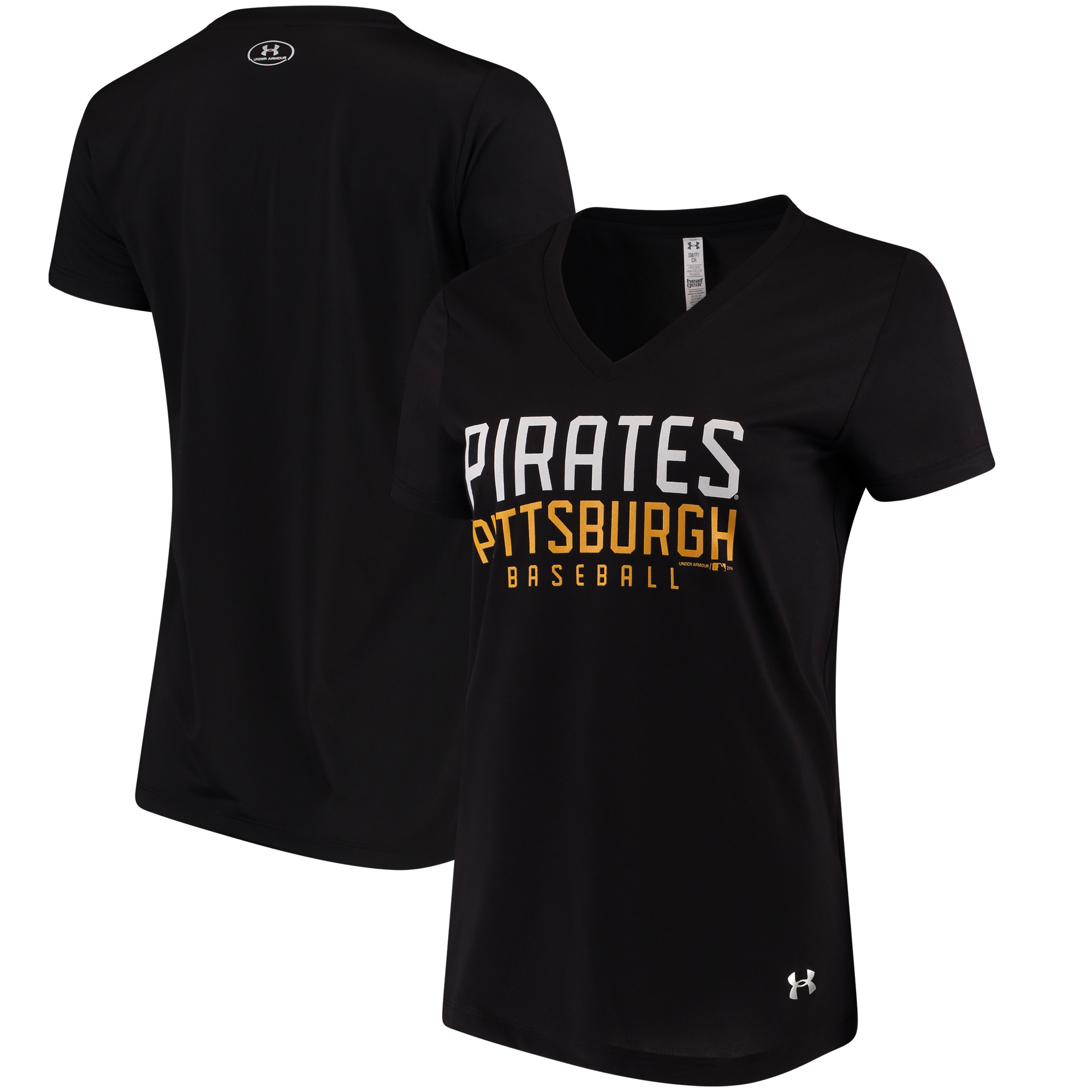 Pittsburgh Pirates Under Armour Women's Tech Performance V-Neck T-Shirt - Black