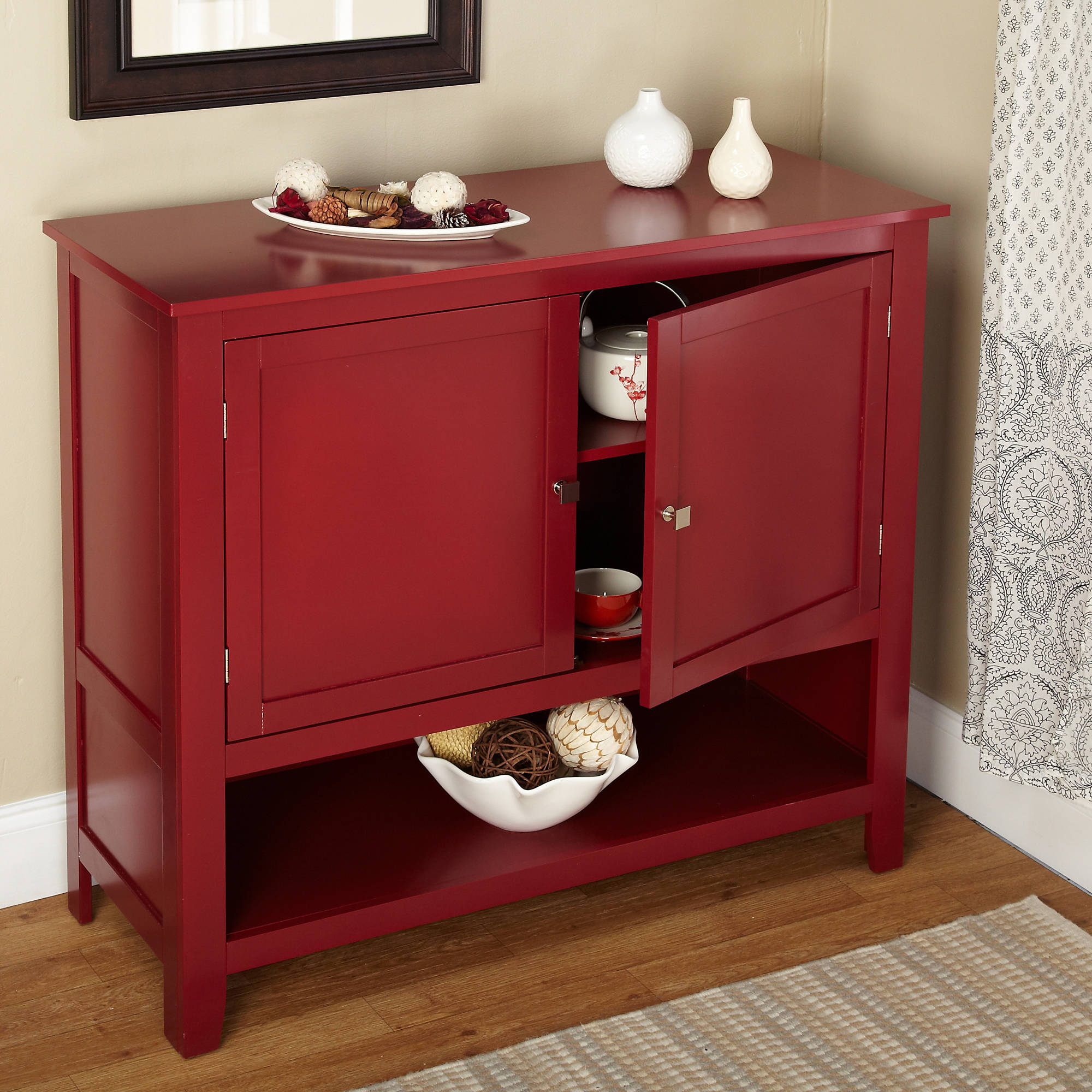 Red Kitchen Table: Red Buffet Cabinet Kitchen Storage Shelf With Doors Table