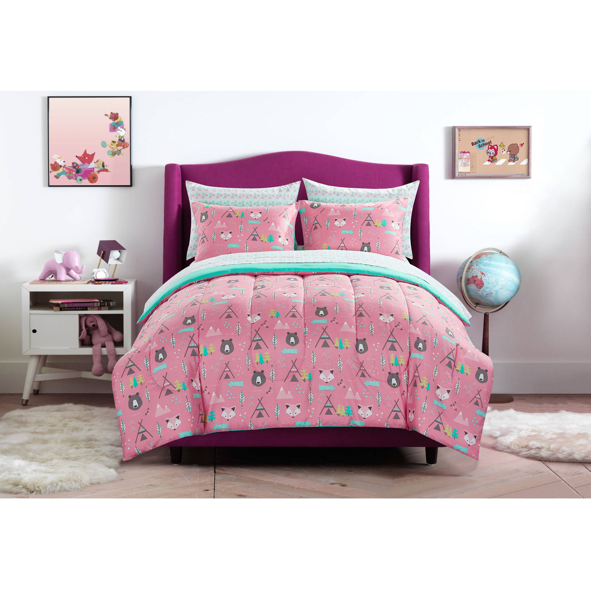 Mainstays Kids Woodland Safari Girl Bed in a Bag Bedding Set by Idea Nuova