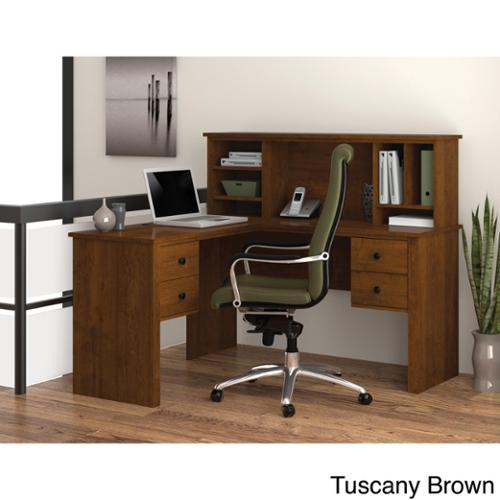 Bestar Somerville L-Shaped Desk with Hutch Tuscany Brown
