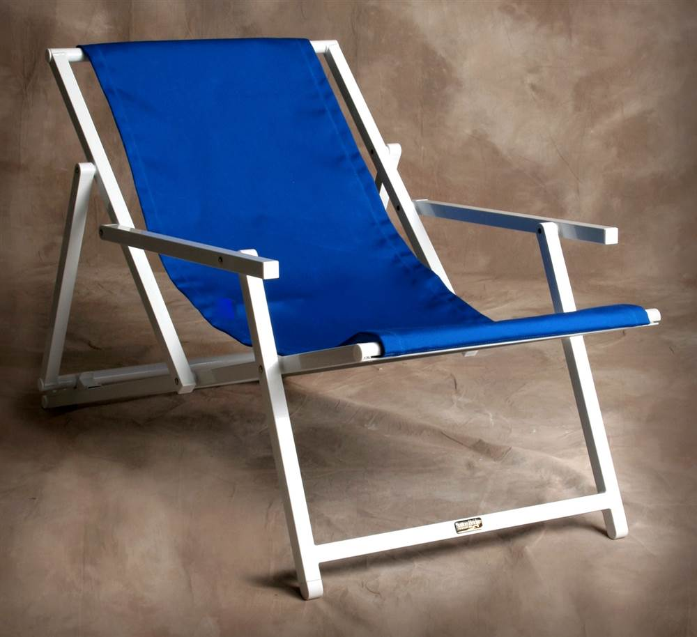 Adjustable Savannah Sling Chair w Arms in Pacific Blue