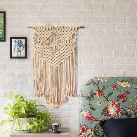 Handmade Braided Bohemian Macrame Woven Wall Hanging Cotton Rope Tapestry Home Art Decor Wedding Backdrop Craft Ornament Gifts 50x33 inch Art Deco Wall Hanging