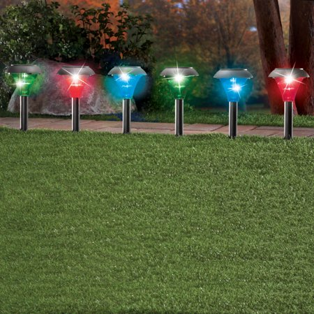 Collections Etc Color Changing Solar Pathway Stakes - Set of 6 ()