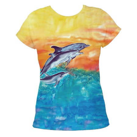 Women's Ladies Dolphin Tee - Sublimate Tie-Dye Printed T-Shirt