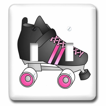 3dRose Skating Gifts Black and Pink Roller Skate Double Toggle Switch