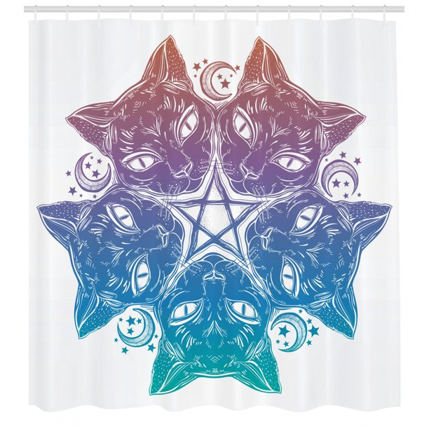 Pentacle Shower Curtain Heads Of Black Cats Forming A Mandala Design With Crescent Moon Pentagram Star Fabric Bathroom Set With Hooks 69w X 75l Inches Long Multicolor By Ambesonne Walmart Com