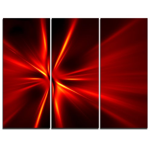 Design Art Red and Yellow Rays - 3 Piece Graphic Art on Wrapped Canvas Set