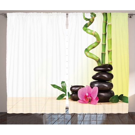 Spa Decor Curtains 2 Panels Set, Spa Still Calm Life Theme With Relax Symbol Bamboo Sprouts And Rocks Asian Meditative Zen Concept, Living Room Bedroom Accessories, By Ambesonne