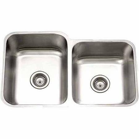 Houzer STE-2300SR-1 Eston Series Undermount Stainless Steel 60/40 Double Bowl Kitchen Sink, Small Bowl Right, 18 Gauge