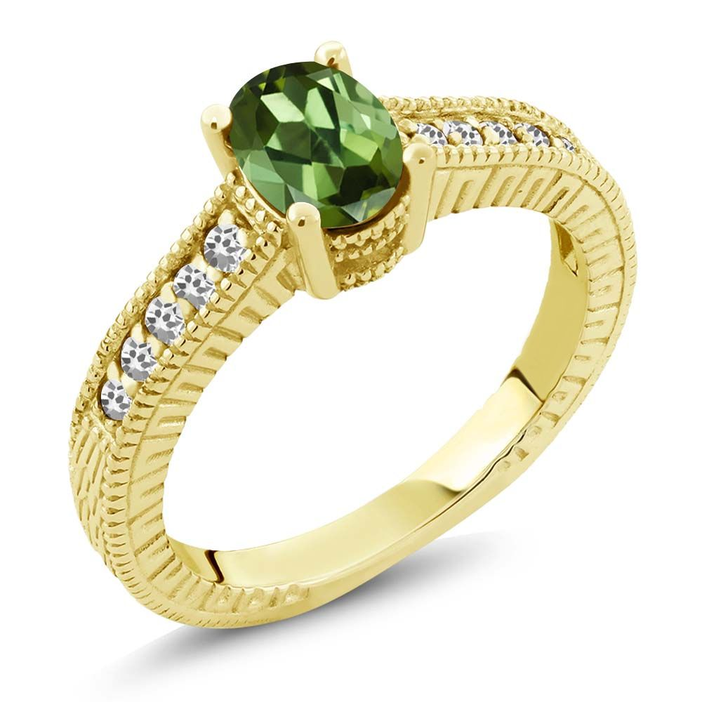1.07 Ct Oval Green Tourmaline White Sapphire 18K Yellow Gold Engagement Ring by