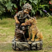 Jeco Boy Plays with Dog Water Fountain