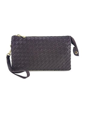 c86ff161beb5 Sold & shipped by Overstock. Product Image Beaute Bags Women's Large Woven  Wristlet with Included Cross Body Strap - Vegan Leather Crossbody Bag