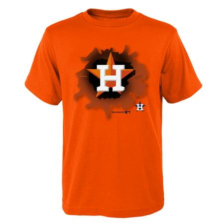 MLB Houston ASTROS TEE Short Sleeve Boys OPP 100% Cotton Alternate Team Colors 4-18