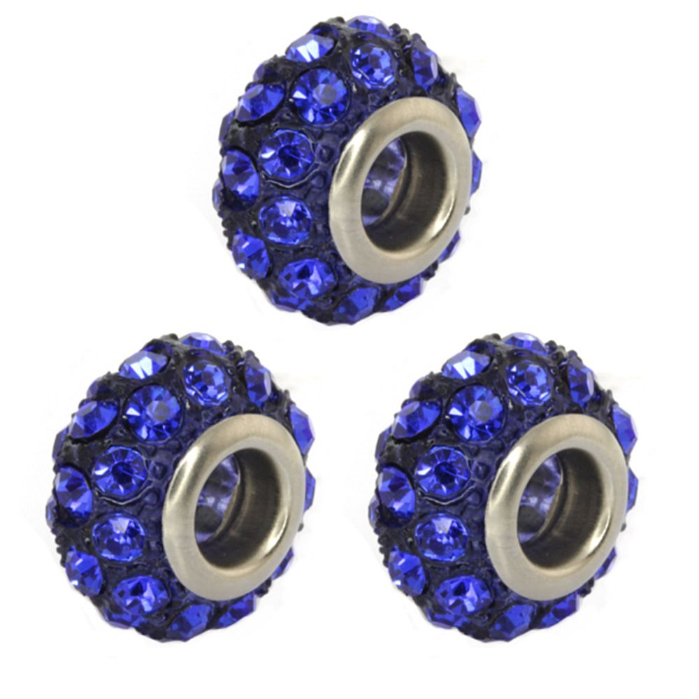 Set of Three Round 14mm Blue Pave Crystal Ball Fits with Beads and Charms