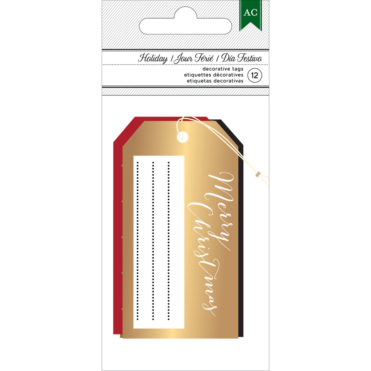 "American Crafts Holiday Tags 12/Pkg-1.5""X3"", 4 Designs: 3 Printed & 1 Foiled"