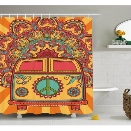 70s Party Decorations Shower Curtain, Hippie Vintage Mini Van Ornamental Backdrop Peace Sign, Fabric Bathroom Set with Hooks, 69W X 84L Inches Extra Long, Coral Orange Turquoise, by Ambesonne for $<!---->