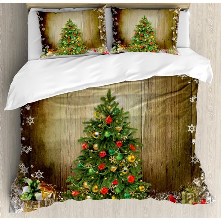 Christmas Duvet Cover Set, Festive Pine Tree with Present Boxes on Snowy Board Xmas at Countryside Theme, Decorative Bedding Set with Pillow Shams, Multicolor, by Ambesonne ()