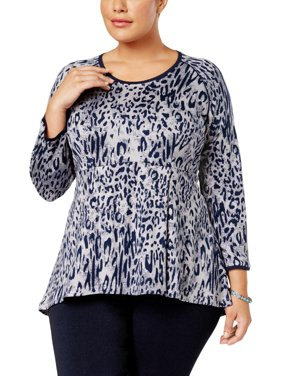 3111a0a0bd1 Product Image Melissa McCarthy Seven7 Womens Plus Animal Print High-Low Peplum  Top