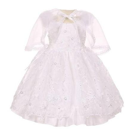 Baby Girls White Embroidered Sequins Bolero Baptism Christening Dress 0-12M