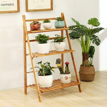 Plant Stand, LANGRIA 3 Tier Folding Plants Stand, Shelves Rack Planter Pot Organizer Storage Flower Display Shelving Unit Holder