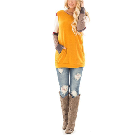 Neck Kit - Lightweight Sweatshirts Round Neck Tunic Tops for Women, Women's Knitted Casual Slim Fit Loose Blouses for Juniors, Yellow / Gray Long Sleeve Sweatshirts for Teen Girl, S-XL