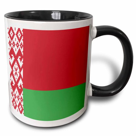 - 3dRose Flag of Belarus - Belarusian national flag - red and green with white ornament pattern world country - Two Tone Black Mug, 15-ounce