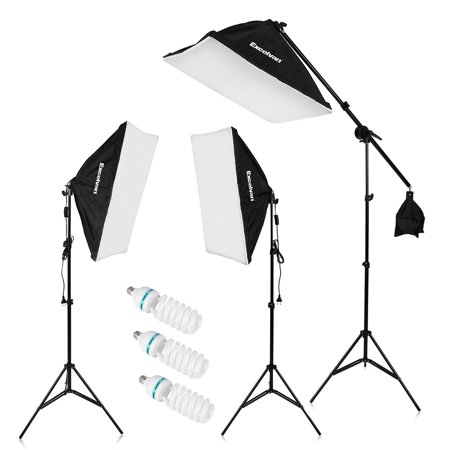 """Excelvan 2000W Photography Studio LED Lighting Kit 20x25"""" Auto Pop-up Soft Box with 80"""" Light Stand and 135W LED Lamp, SHOX-012"""