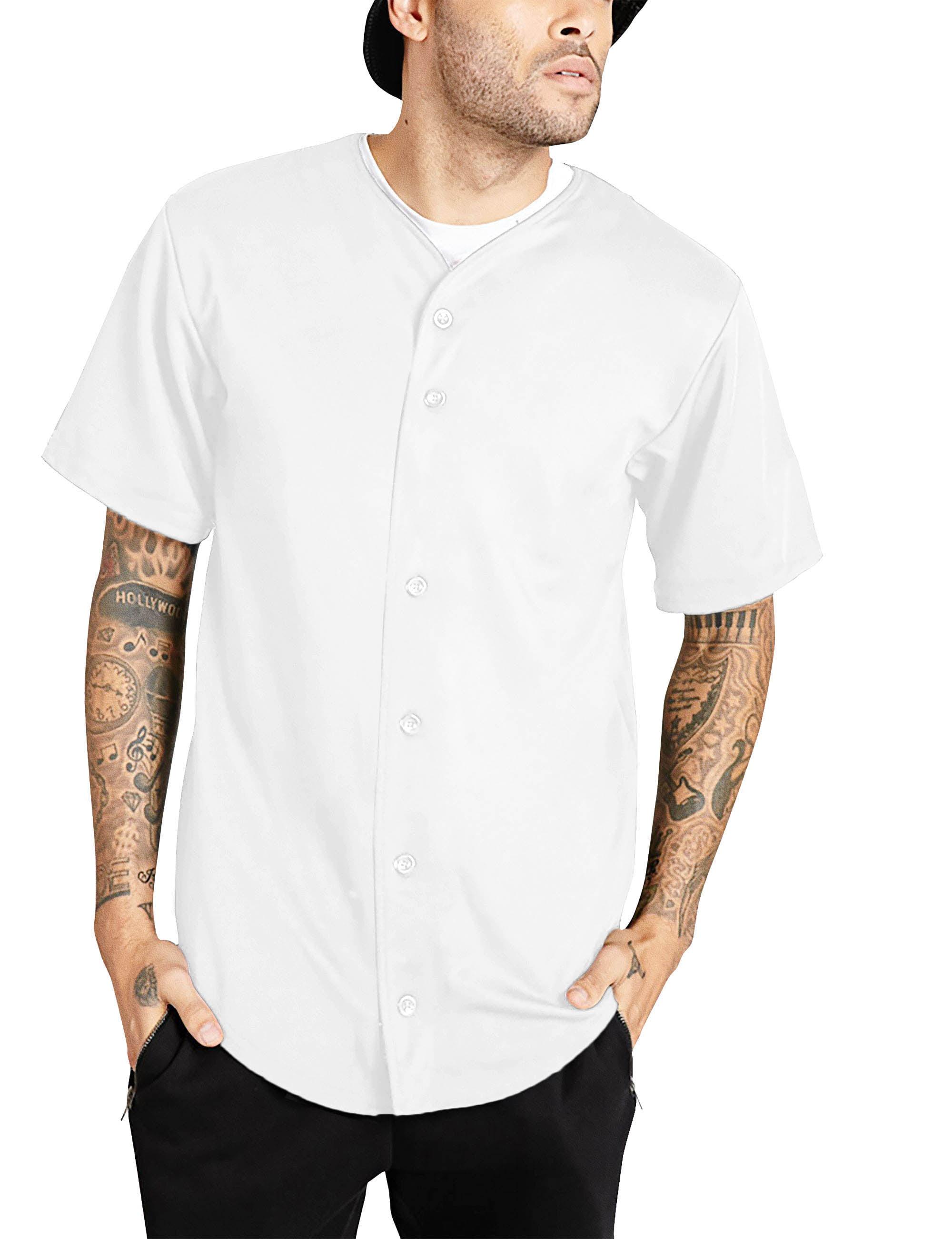 White w pinstripes 46-48 2 button Men Size XL Softball Jersey cotton//poly