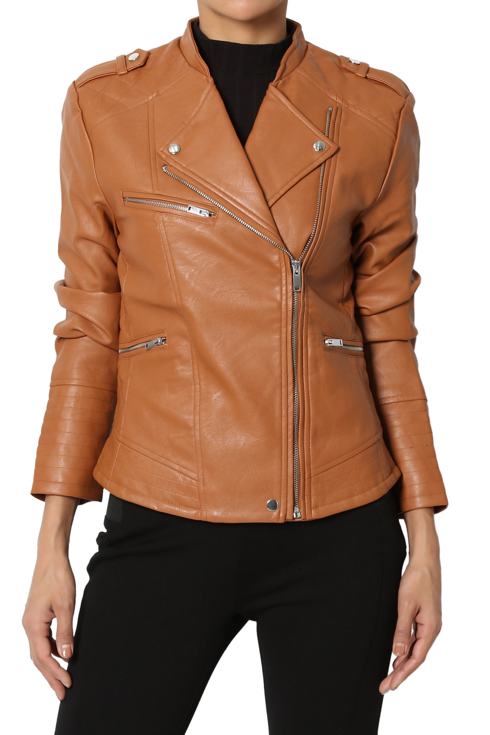 TheMogan Junior's Quilted Edge Stand Collar Faux Leather Moto Jacket