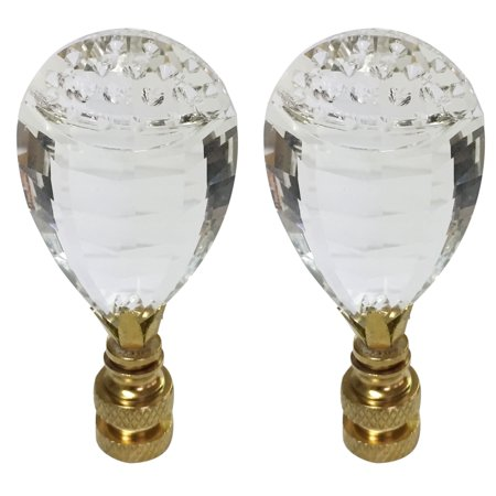 Royal Designs Balloon Drop Clear K9 Crystal Lamp Finial For Lamp Shade with Polished Brass Base Set of 2 (Balloons Shapes)