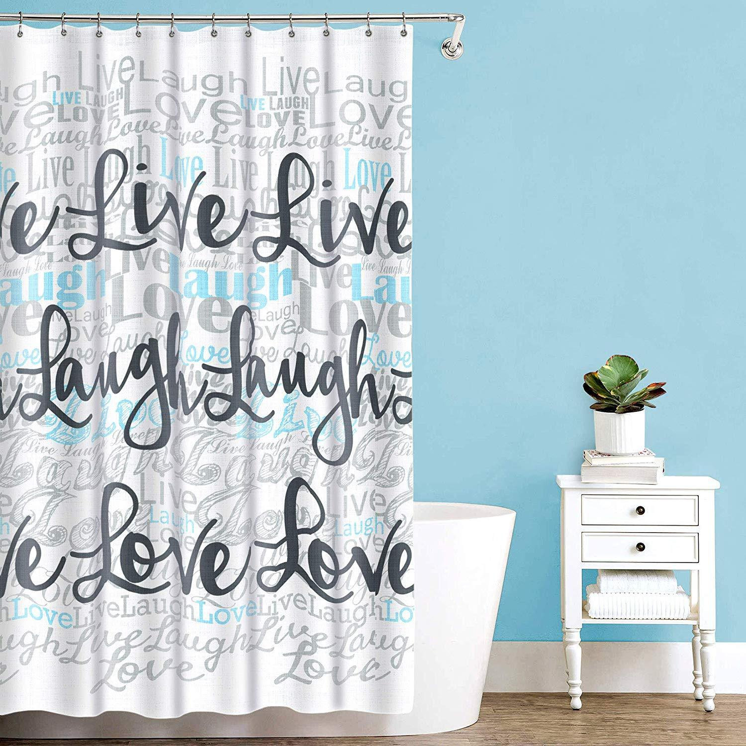 SPLASH BATH SHOWER CURTAIN PEVA VINYL - LIVE LOVE LAUGH - 70 x 72 NEW
