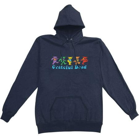 Grateful Dead Men's  Dancing Bear Hooded Sweatshirt Blue