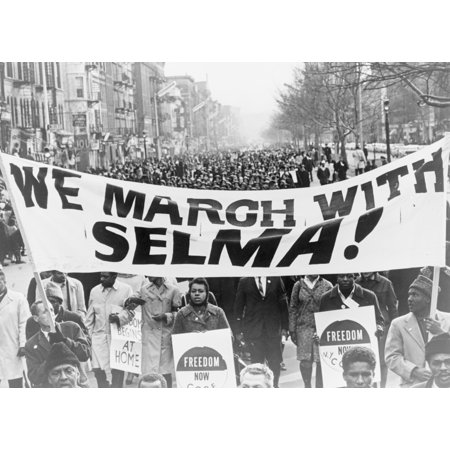 Marchers carrying banner lead way as 15000 parade in Harlem New York City 1965 Poster Print by Stocktrek Images (Halloween Parade New York)