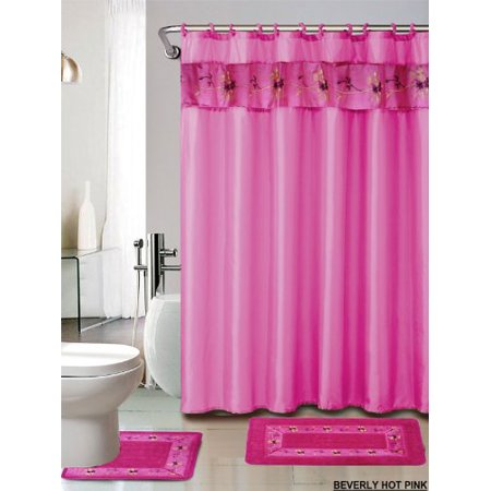 4 piece luxury embroidered bath rug set 3 piece hot pink bathroom rugs with fabric shower. Black Bedroom Furniture Sets. Home Design Ideas