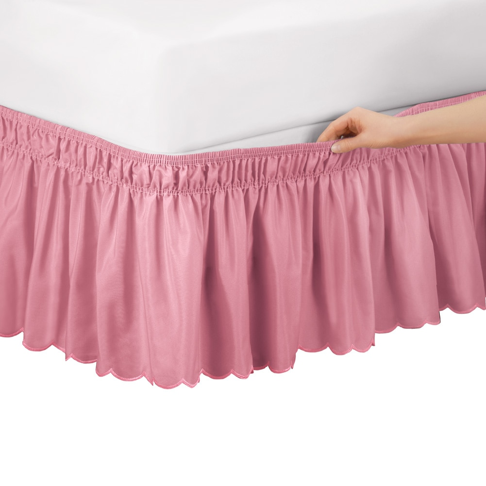 Scalloped Elastic Bed Wrap Around, Easy Fit, Dust Ruffle Bedskirt, Twin Full, Rose by Collections Etc