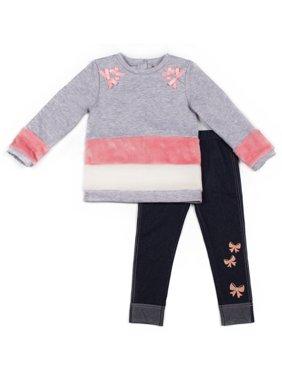 Little Lass Fleece Colorblock Faux Fur Top and Knit Denim Leggings, 2pc Outfit Set (Baby Girls & Toddler Girls)