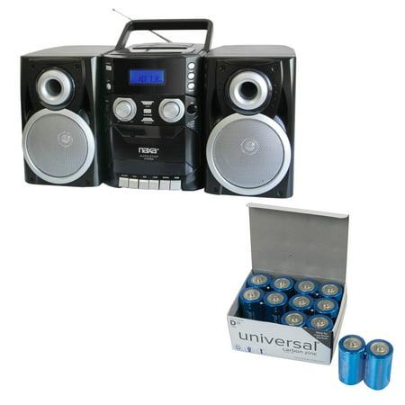 Naxa NPB426 Portable CD Player With AM/FM Radio, Cassette & Detachable Speakers & UPG D 12 (Best Panasonic Cd Player With Speakers)