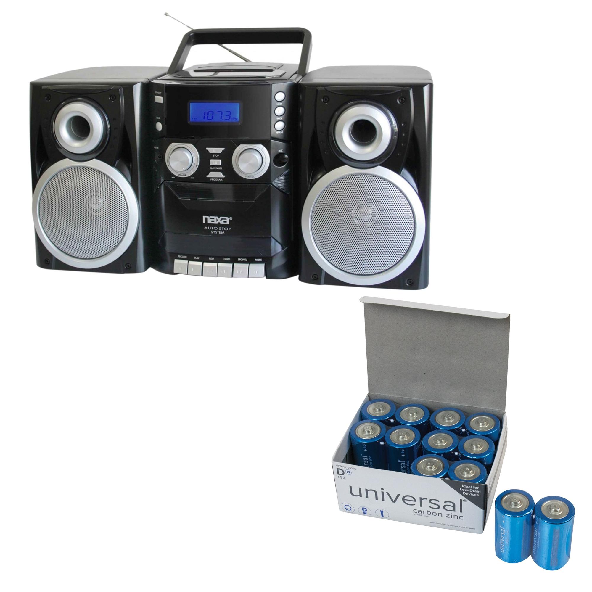 Naxa NPB426 Portable CD Player With AM/FM Radio, Cassette & Detachable Speakers & UPG D 12 PACK
