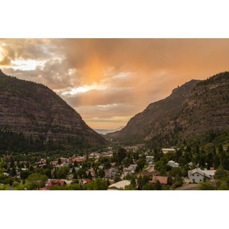 USA, Colorado, Ouray. Stormy sunset on mountains and town. Print Wall Art By Cathy and Gordon