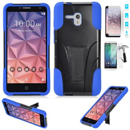 (Phone Case for Straight Talk Alcatel Pixi-Glory LTE / Alcatel flint  (Cricket) Alcatel Fierce-XL Tempered Glass Screen Protector with Rugged Cover Stand (Case Blue Corner / Tempered Glass Screen))