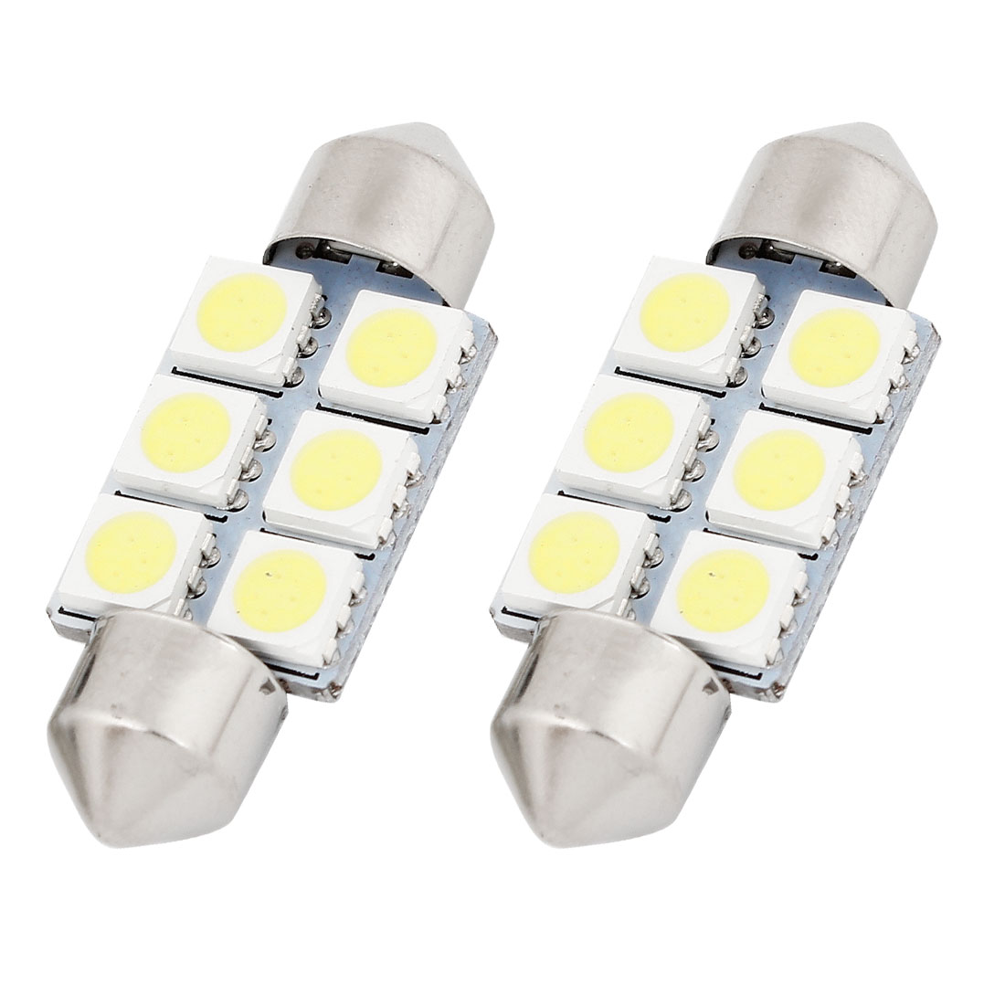 2 X White 36MM 5050 6SMD Festoon Dome Map Interior LED Light bulbs C5W 6411 6418