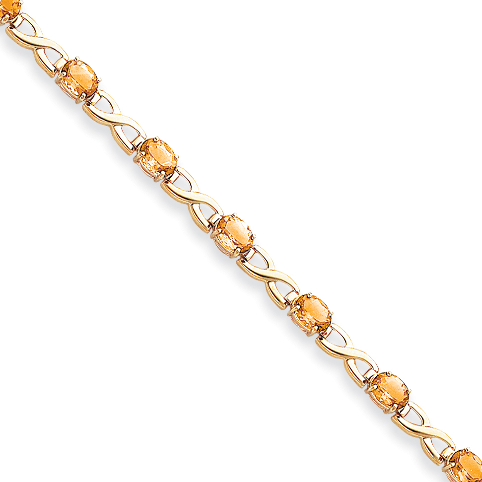 14k Yellow Gold 7x5mm Oval Citrine bracelet by