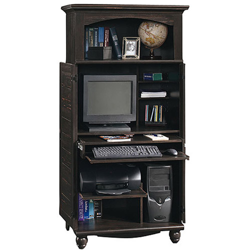 Sauder Harbor View Computer Armoire, Antiqued Black Paint