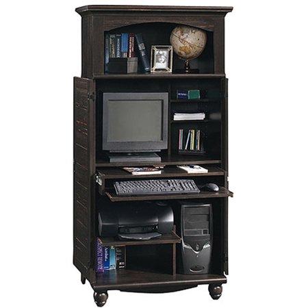 Sauder Harbor View Computer Armoire, Antiqued Black Paint ...