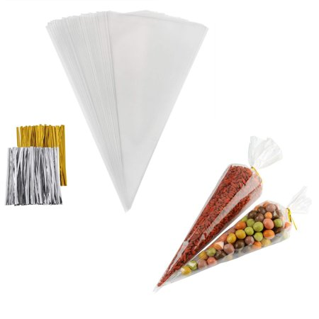 CUH 25/50/100PCS Clear Cellophane Cone Shaped Treat Bags Sealed Triangle OPP with Ties for Candy Sweet